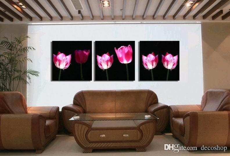 현대 Tulipa Gesneriana 꽃 그림 캔버스 벽 아트 홈 장식 Set30381에 Giclee 인쇄