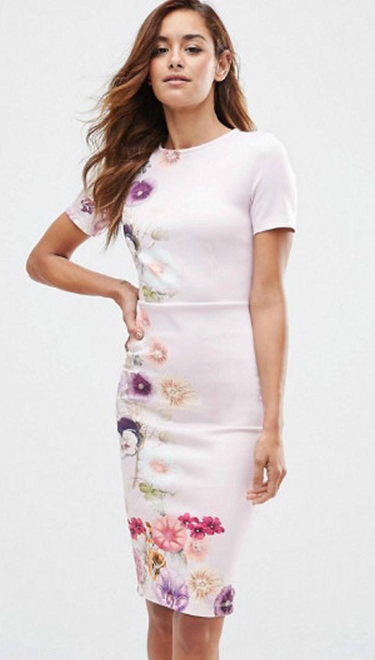 Flower Print Women Tubino Abito manica corta OL OffIce Lady Abiti da lavoro 0616101