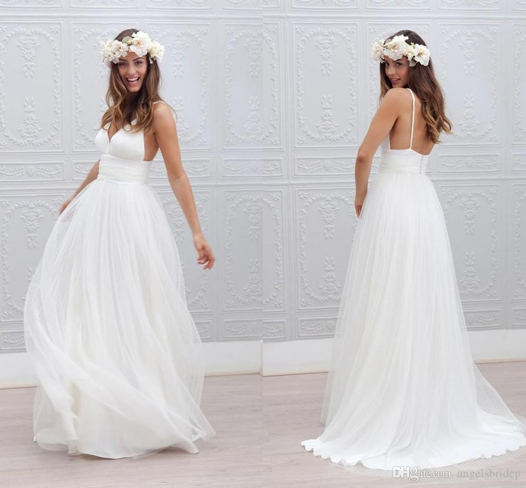 Discount Beautiful Backless Wedding Dresses Affordable A Line With ...