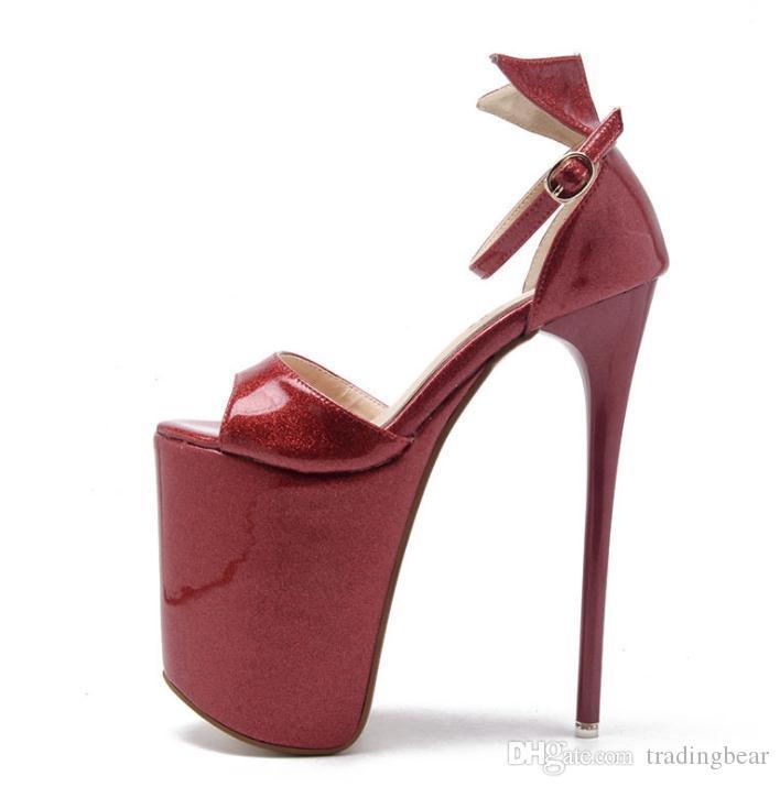 23cm Super high platform gold wedding shoes women pumps sexy lady dance shoes party queen size 34 to 40