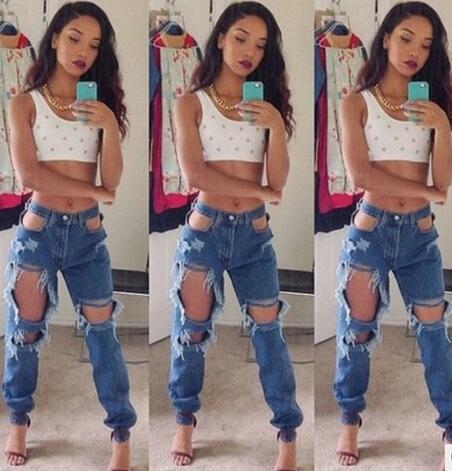 2019 Designer Denim 2016 New Fall Women Denim Pants Fashion Boyfriend  Ripped Jeans Big Hole Skinny Trousers High Waist Feet Pencil Pants From