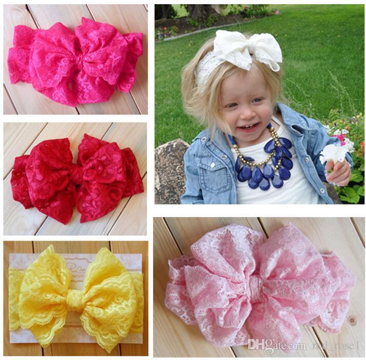 7 colori bambino grande pizzo arco fasce per ragazze carino bow bow band capelli infantile bel cursore bambini bowknot accessori elastici accessori per capelli accessori per capelli