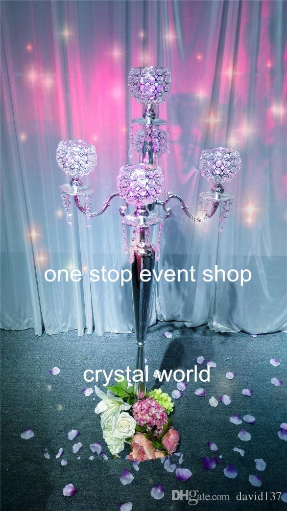110cm hoch 5 Arm Metall Kerzenständer mit Kristallperlen für Hochzeitsdekoration
