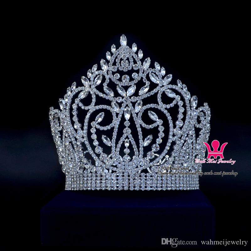 Grande Shining Pageant Crown Tiara Miss Beauty Queen Princess Hairwear Accessori per gioielli Party Prom Night Clup Show copricapo 02164