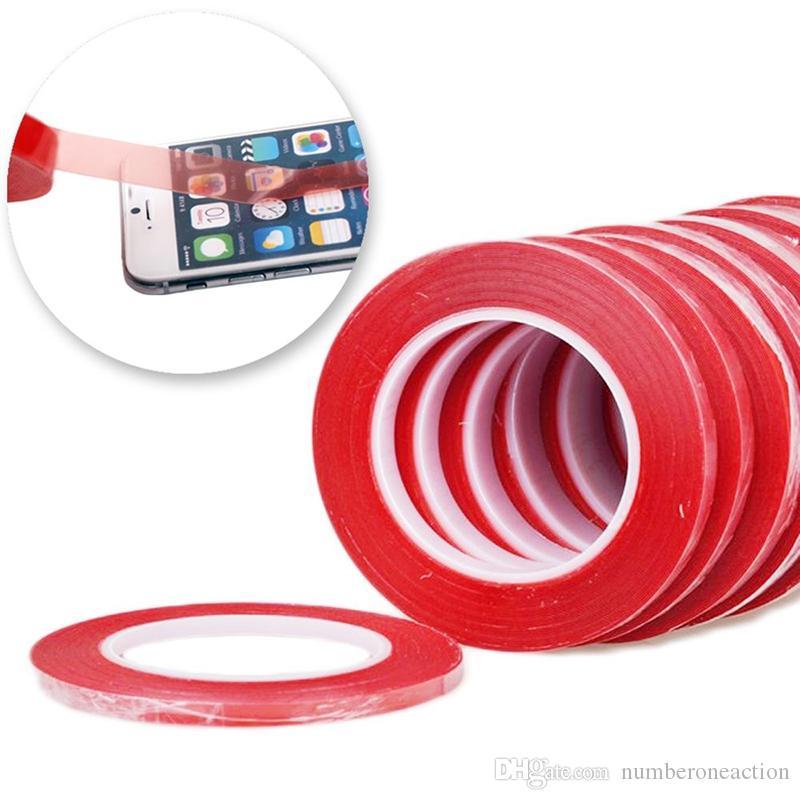 2mm 3mm 5mm * 25m 3m vermelho fita adesiva de dois lados para telefone celular tela de toque / lcd / display frete grátis