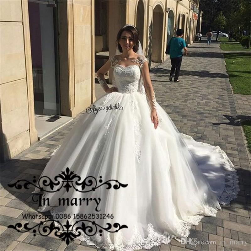 2017 Arabic Ball Gown Long Sleeves Wedding Dresses Illusion Bodice ...