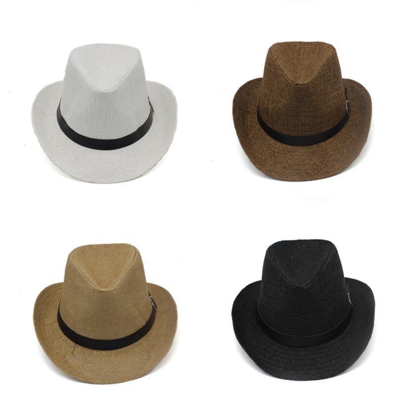Homens verão Mulheres Aba Larga Chapéus de Cowboy Moda Rua Chapéu Fedora Unisex Ao Ar Livre Praia de Viagem Chapéus de Palha de Sol Cintos Whosales GH-59