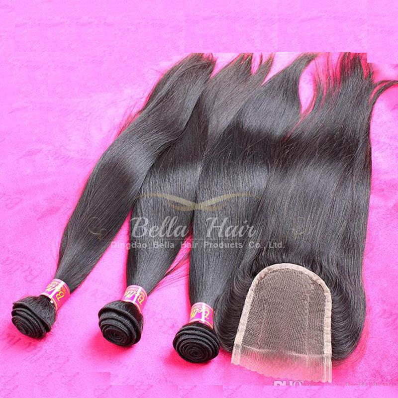 لحمة الشعر الماليزي الإنسان مع إغلاق مستقيم الشعر 3 قطع مع إغلاق الدانتيل ثلاثة جزء 4 قطعة / الوحدة اللون الطبيعي ب ...