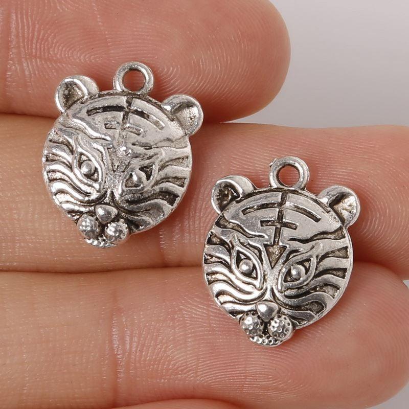 Free shipping 5pcs 14x18mm Zinc Alloy Antique Silver Tiger Head DIY Charms Pendants jewelry making DIY