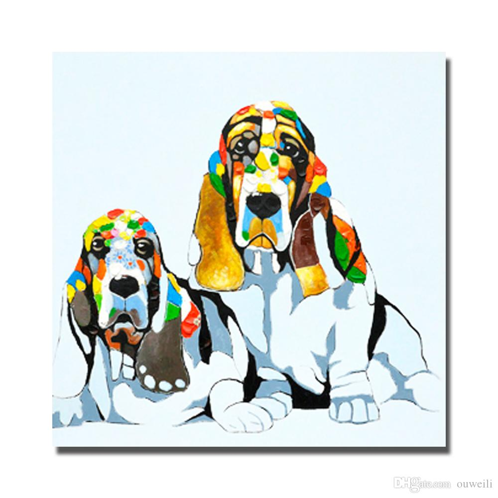 Free shipping hand painted dog pop art image top quality pet dog oil painting images for wall dog pictures