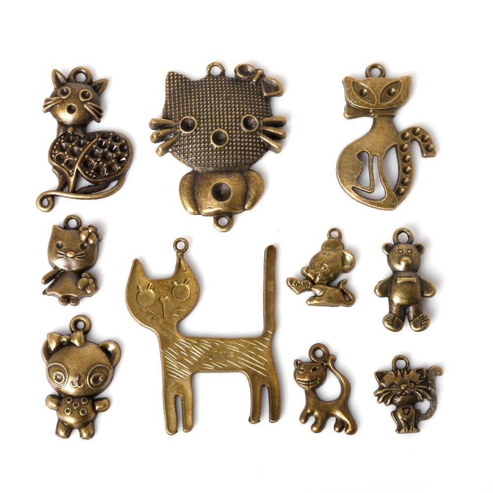 Ücretsiz kargo 43 adet / grup Karışık Stil Çinko Alaşım Antik Bronz Kaplama Kedi Hayvan Charms Kolye Diy Takı El Yapımı El Sanatları takı yapımı