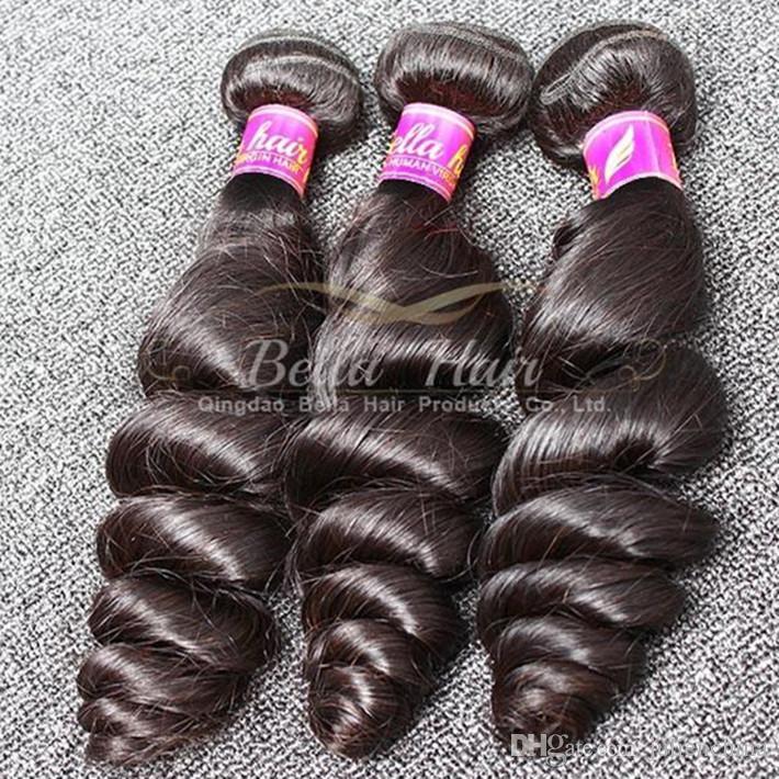 الملكة منتجات الشعر 4pcs / lot الشعر التمديد 10-24 بوصة البرازيلي الإنسان الشعر اللون الطبيعي متموجة فضفاض موجة شحن مجاني