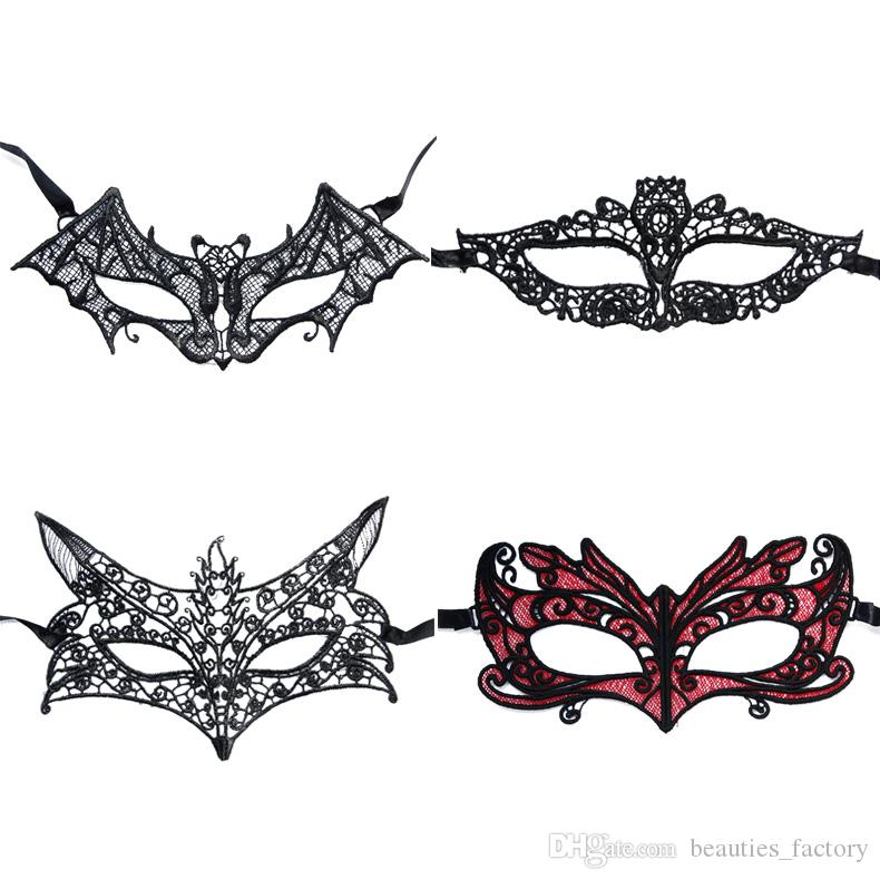 10pcs Sexy Black Lace Venetian Mask Masquerade Ball Prom Halloween Costume Fancy Dress Dance Party 4 style