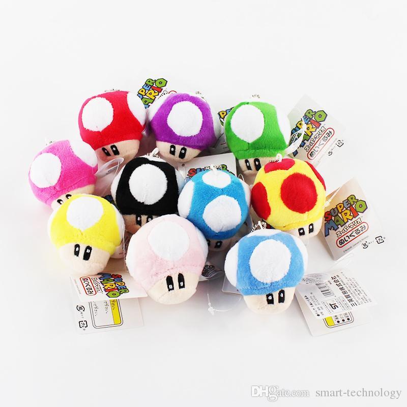 10pcs / lot Super Mario Toad Cogumelo enchido macio Dolls Plush Pendant Keychain Toy