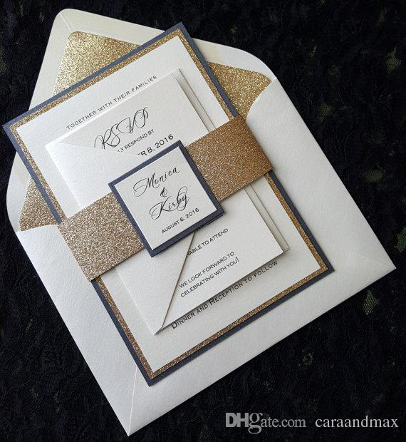 Dhl Free Shipping Bespoke Glitter Wedding Invitation With Rsvp