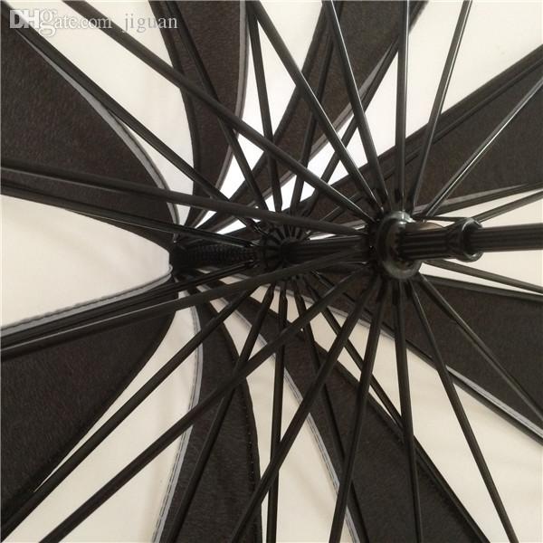 Venta al por mayor- (1 piezas / lote) Nueva manga larga pabellón pongee blanco y negro colores elegantes pagoda sombrillas