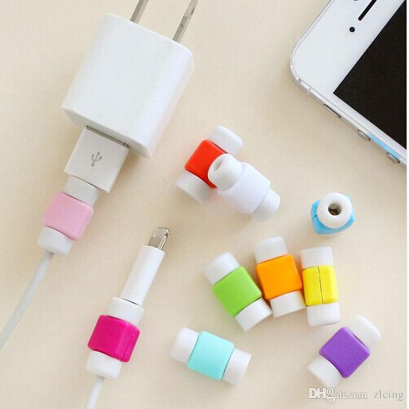 1000pcs / lot Art und Weise USB-Daten-Kabel-Schutz-Abdeckung Bunter Kopfhörer-Kabel-Schutz für iPhone Android-Handy kühlen Teil