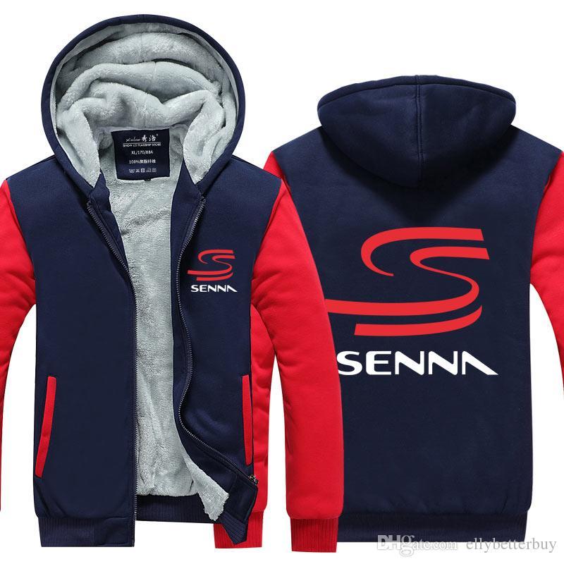 Yeni Sıcak HERO F1 Ayrton Senna Kış Erkekler Kalın Kapüşonlular Patchwork Kazak Fermuar Fleece Eşofman Artı boyutu Kış Coat Çin Traditi