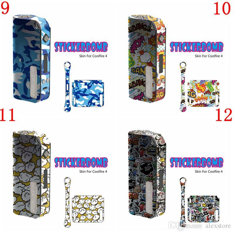 StickerBomb Skin Wraps Sticker for Innokin Cool Fire IV 40W Battery Protective Film Cool Fire 4 Box Mods With Fashion 25 Styles DHL