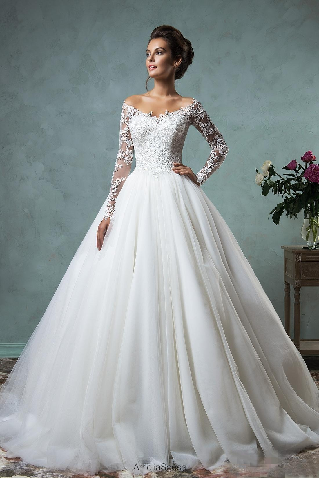 Vintage Amelia Sposa Lace Ball Gown Wedding Dresses Long Sleeves ...