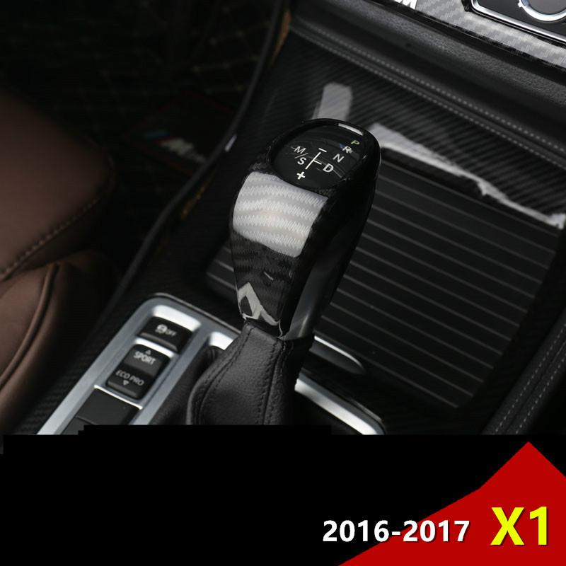 Chrome Styling Console Gear Shift Knob Decorative Cover Trim Sticker For BMW X1 2016-17 Carbon Fiber Color Interior Accessories
