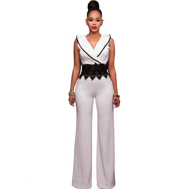 Wholesale- 2017 New Wide Leg Jumpsuit Overalls Long Trousers Outfits Fashion Women Black Contrast Lace Waist Insert Ladies Playsuits