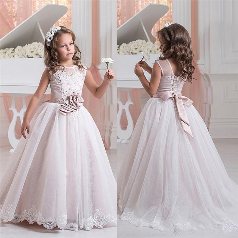 Primavera Vestidos menina Sheer Varrer Vestido Appliqued partido das crianças Baby Girl Jewel Train Vestidos para a comunhão com Bow