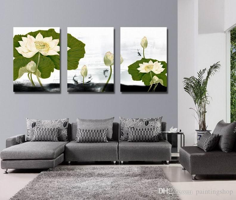 جيكلي طباعة قماش جدار الفن زنبق الماء زهرة المعاصرة الزهور صورة ديكور المنزل Set30406