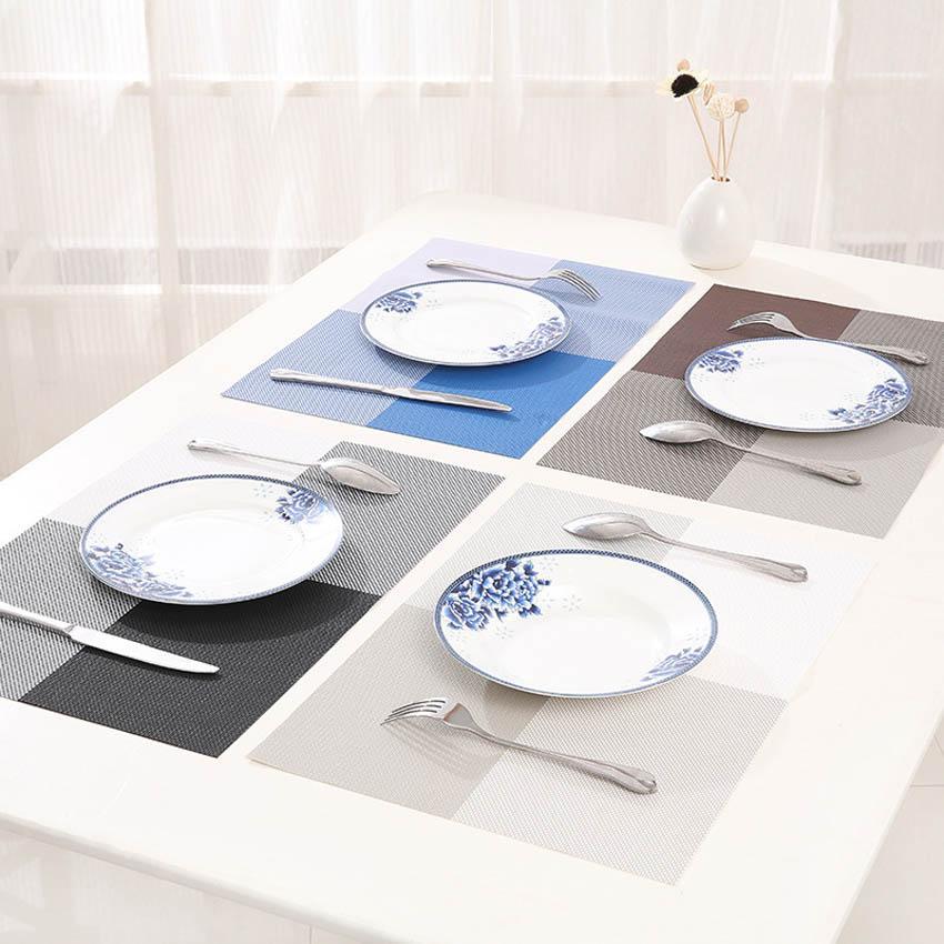 Wholesale- 4 Pcs/set Placemats PVC Table Mat Color Block Dining Disc Pads Coasters Mantel Napperon 30*45cm Plate Bar Table Tapete de lugar