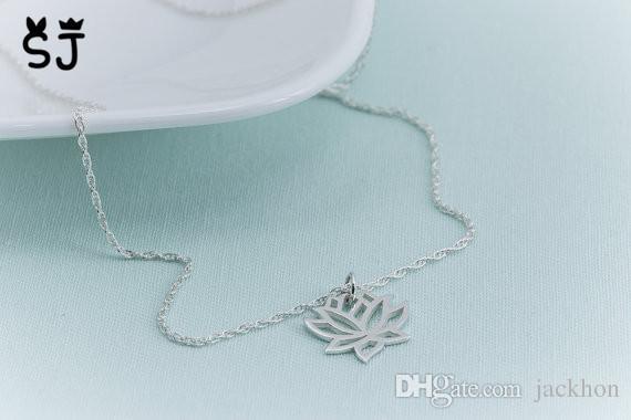 N031 золото серебро персонализированные довольно металлические цветы ожерелье йога лепесток ожерелье завод цветок лотоса ожерелья лотоса ожерелья