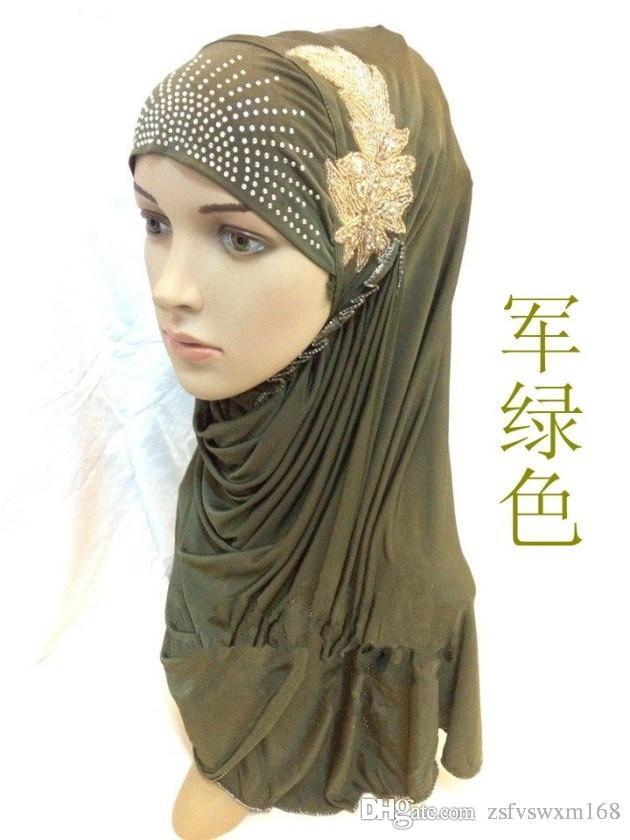 Mode foulard islamique écharpe hijab glace perlés à la main fleur de soie  feuille pratique chapeau
