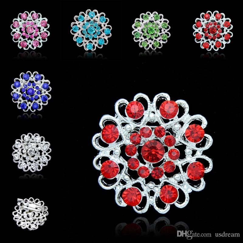 Kristall-Blumen-Liebe Broschen Pins Diamanten Broschen Blume im Knopfloch-Stick Corsage Hochzeit Brosche Modeschmuck 170265