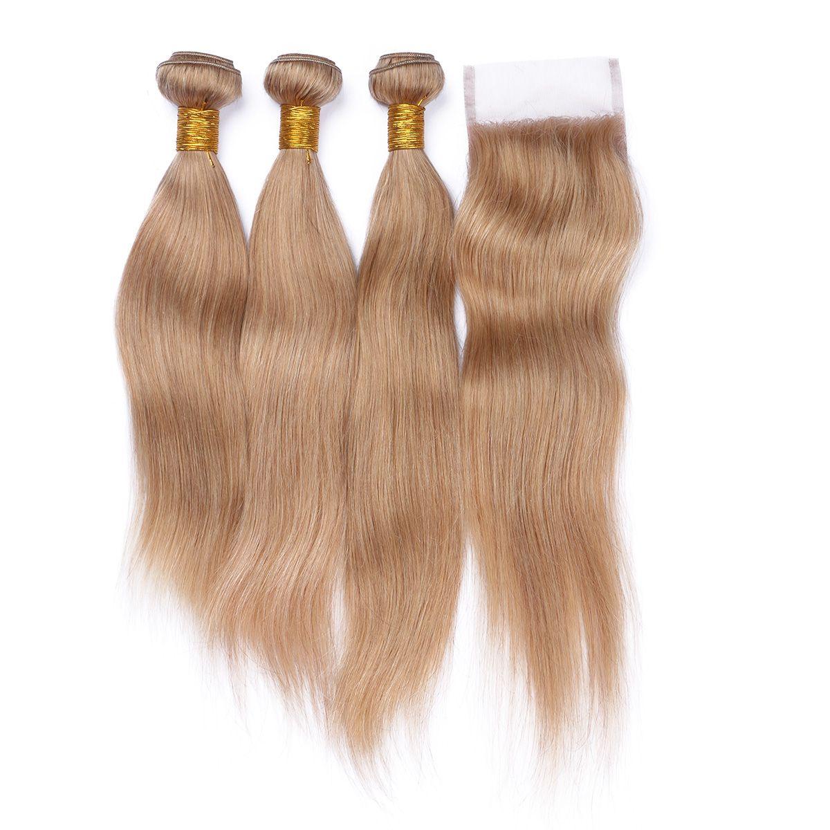 #27 Blonde Malaysian Hair 3Bundles With Top Closure 4Pcs Lot Honey Blonde Straight Human Hair With 4*4 Lace Closure 4Pcs Lot