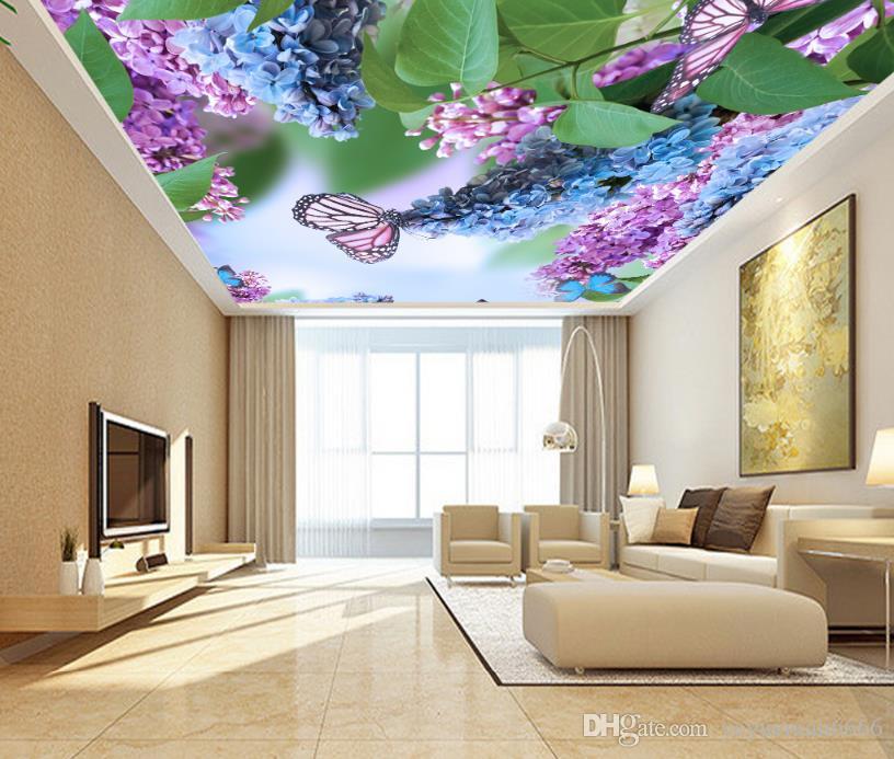 Piękna Wisteria kwiaty sufitowe tapety 3d tapeta ścienna do salonu Zdjęcie tapety nowoczesny sufit 3d