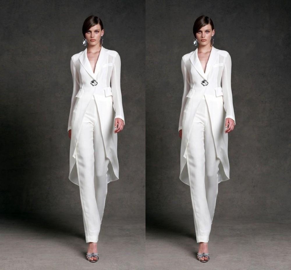 Скромный шифон мать невесты платья брюки костюмы V-образным вырезом с длинными рукавами вечерние платья длина по щиколотку мать невесты костюмы
