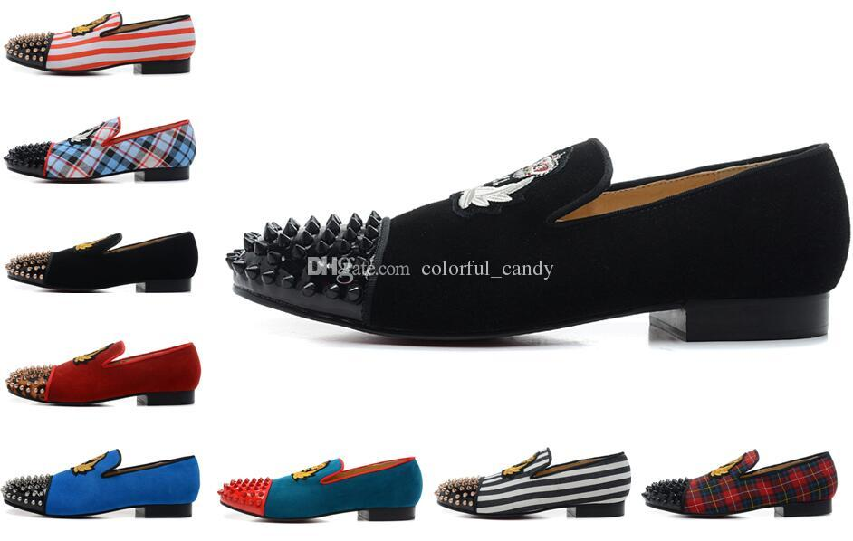 Marke Red Bottom Loafers Luxus Party Hochzeit Schuhe Designer BLACK SUEDE Stickerei mit Spikes Studded Wohnungen Kleid Schuhe für Herren Damen