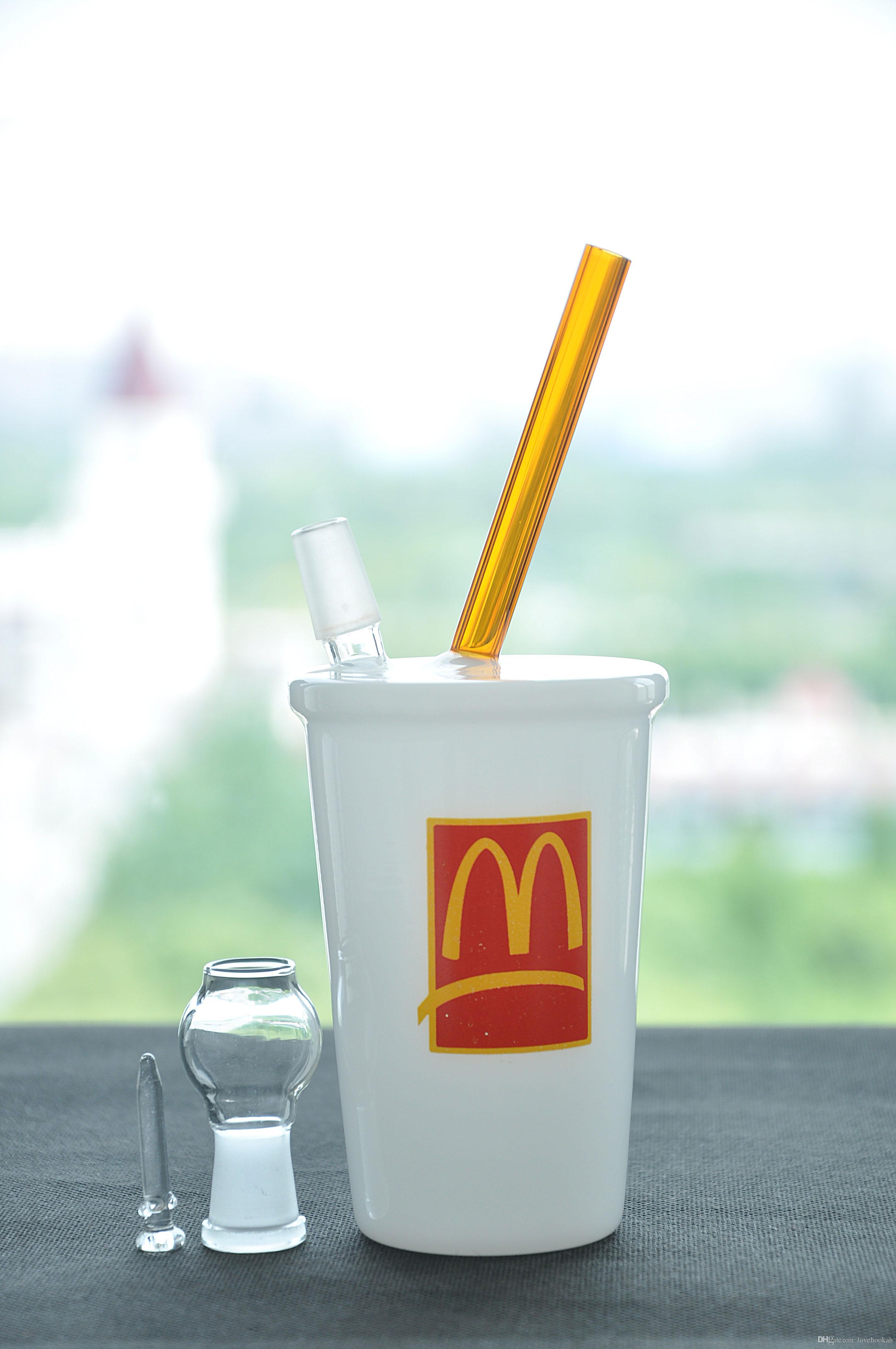 Coppa acqua tubo bianco vetro Bong bella fumo tubo economico narghilè Rig McDonald 'logo con paglia