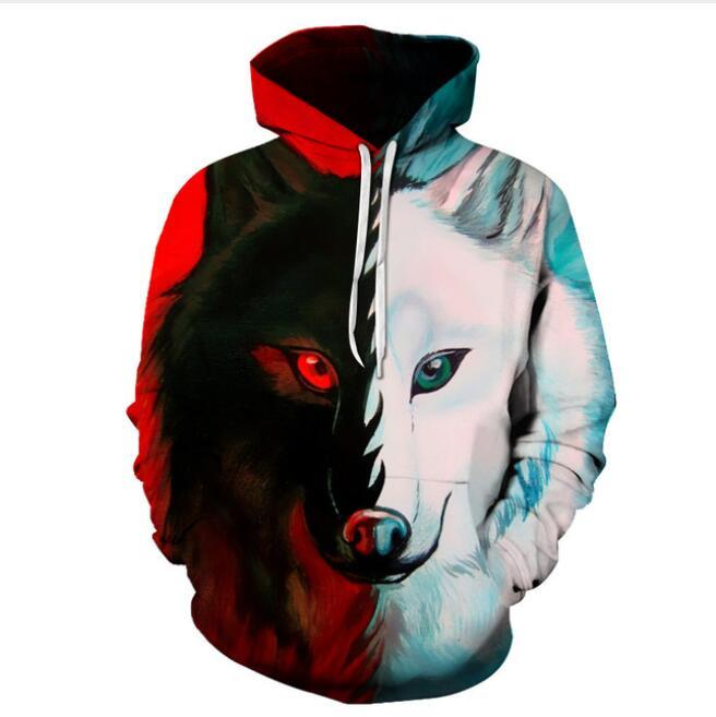 3D Print Animal Wolf Hooded Sweatshirts Harajuku Regular O-Neck Pullover
