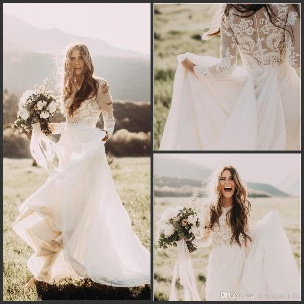 2018 Summer Bohemian Country Wedding Dresses A Line Jewel Neck Lace Appliques Long Sleeves Zipper Back Sweep Train Plus Size Bridal Gowns