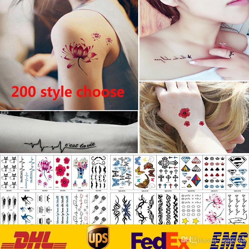 200 نمط ملصقات الوشم للماء الجسم فن الوشم المؤقت ملصقات النساء الرجال مجوهرات هدايا الصحة الجمال المنتج HH-S17