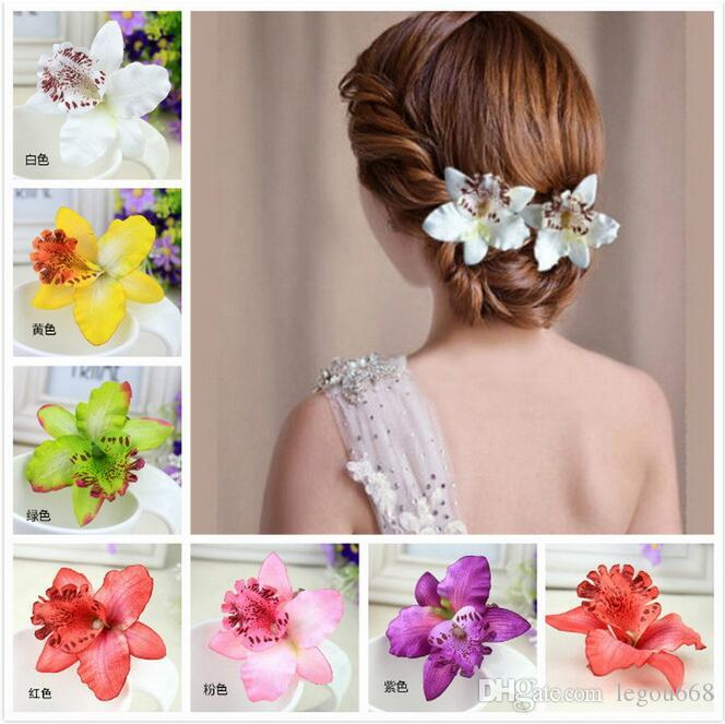 Hot bridal hair accessories flower Orchid hair pins Bohemia Leopard Hair Clip Beauty Hairpins Barrette Wedding Decoration Beach Hairwear