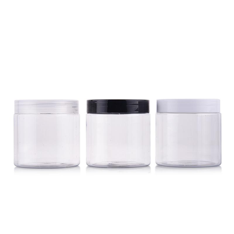 12pcs 200g Portable Clear Empty Plastic Jar For Mask Round Bottle Empty Cream Jars Containers For Cosmetic Bead Storage