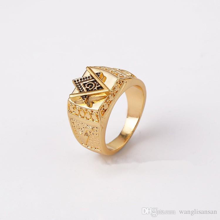 Fashion Unisex 18K Yellow Gold Plated Square Free Mason Freemasonry Masonic Finger Ring for Men or Women (Size:7-12)