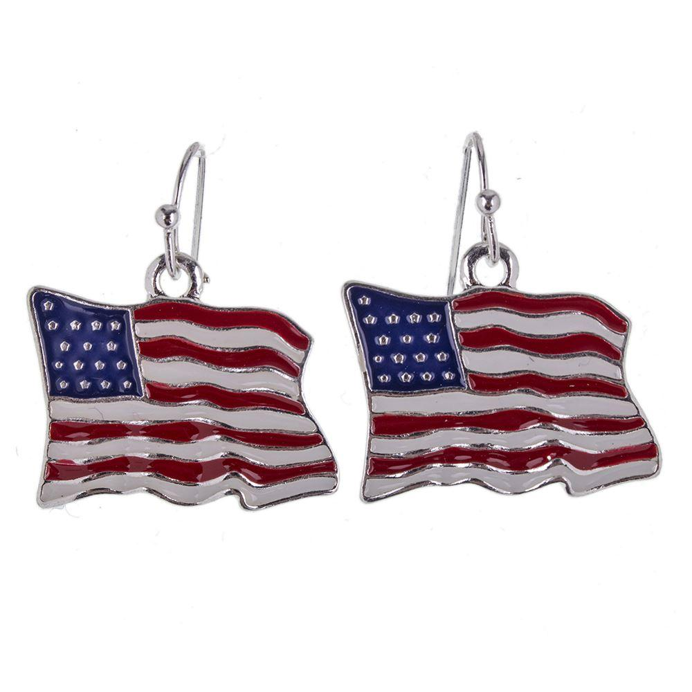 Fashion Newest MS1504440 Fashion Jewelry High Quality Necklace Earrings For Women Jewelry Silver Plated Antique Unique USA Flag Design