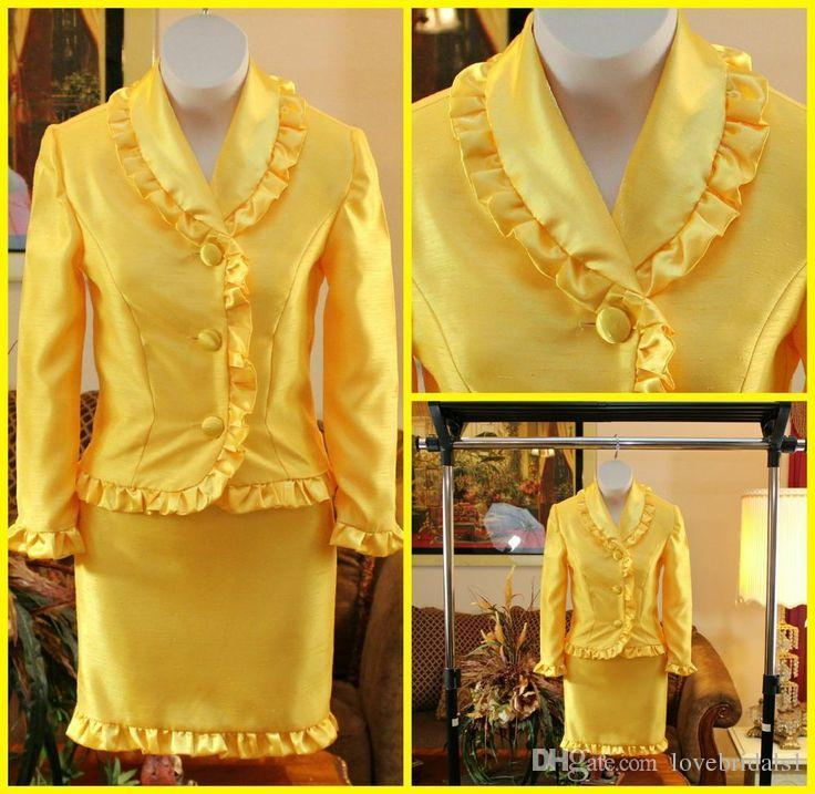 Gorgeous Yellow Suit Pageant dress for Little Girl long sleeves short skirt National Interview Suits Short Pageant Dresses