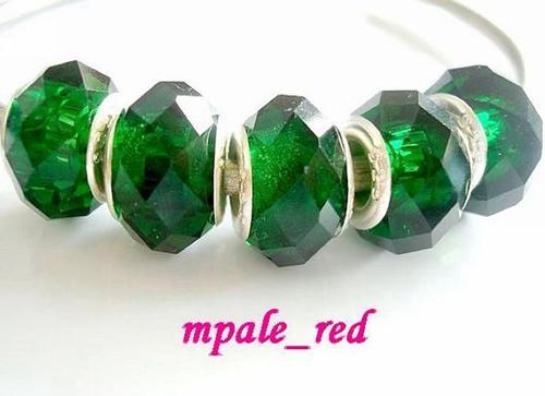 100pcs / Lot Verde sfaccettato cristallo 925 Bead Big Hole per monili che fanno i fascini allentati perle fai da te per il commercio all'ingrosso del braccialetto in massa a basso prezzo