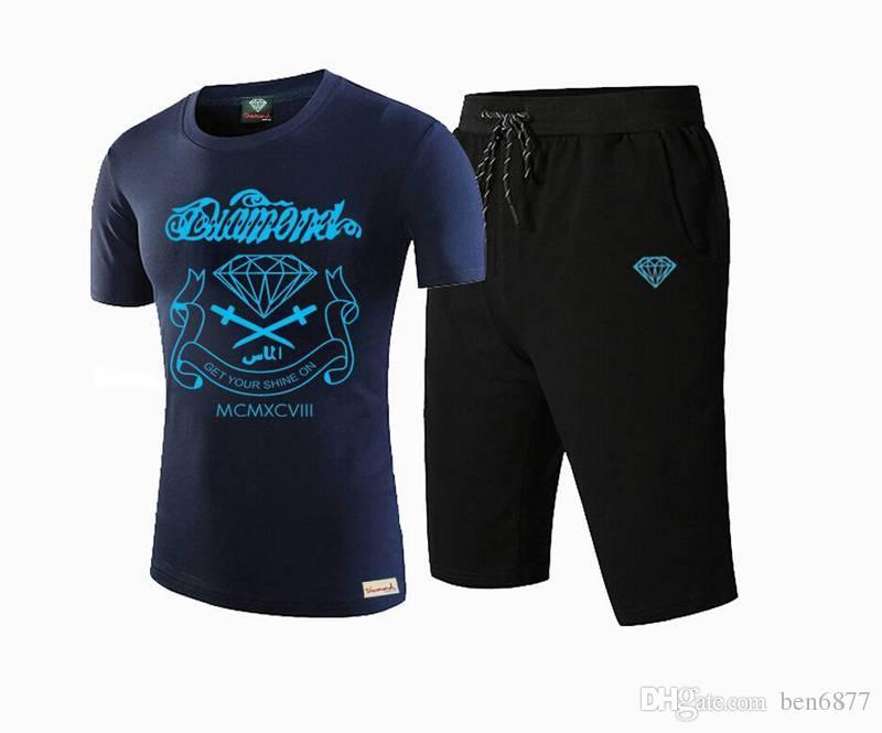 8686 s-5xl frete grátis NOVO Mens diamante impressão de secagem rápida hip hop t-shirt Casual + calça terno 2 pcs roupas de impressão,