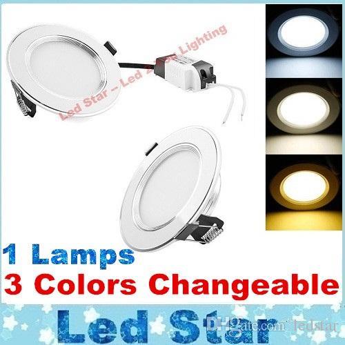 (3 ألوان في 1 مصباح) أضواء LED لوحة 3W 5W 7W 9W 12W رقيقة جدا لوحة أضواء السقف بقيادة + السائقين 110-240V