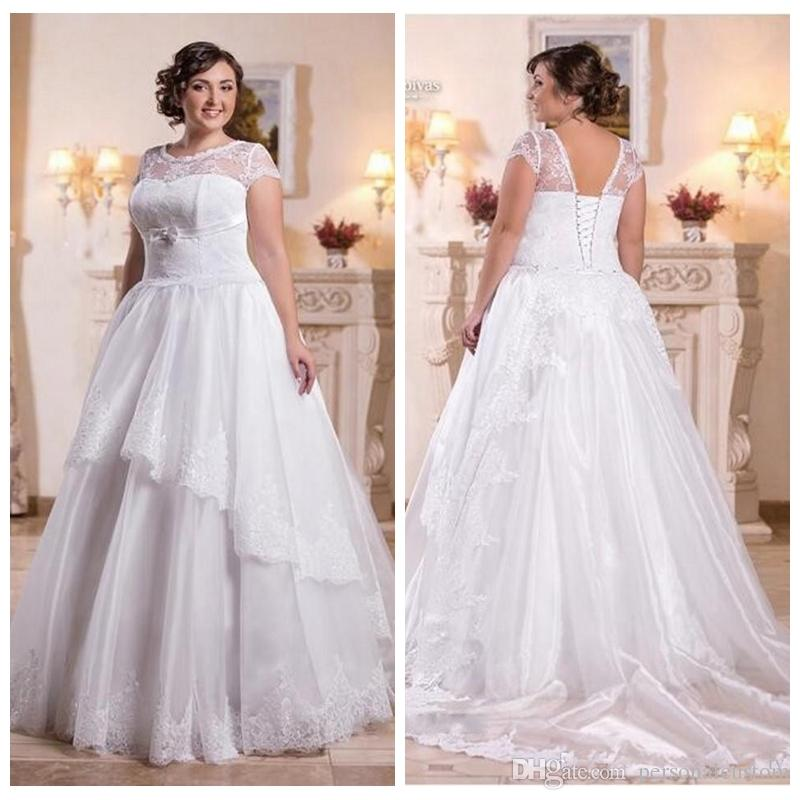 Discount Scoop Short Sleeves Plus Size A Line Wedding Dresses Lace ...
