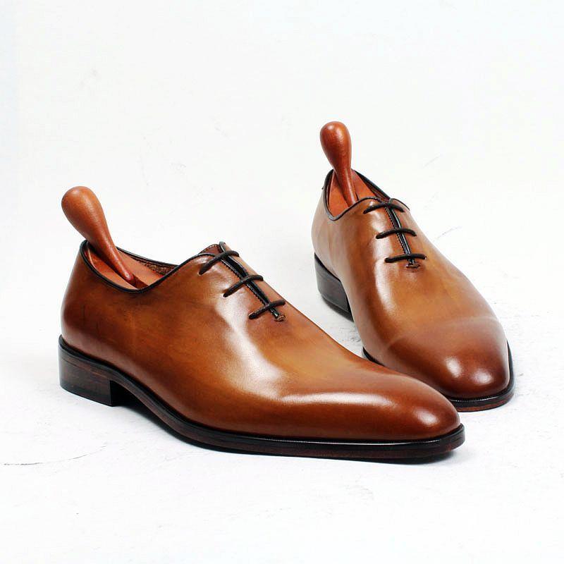 Hombres Zapatos de vestir Zapatos Oxford Zapatos personalizados hechos a mano Zapatos Derby de piel de becerro genuinos color Marrón HD-260